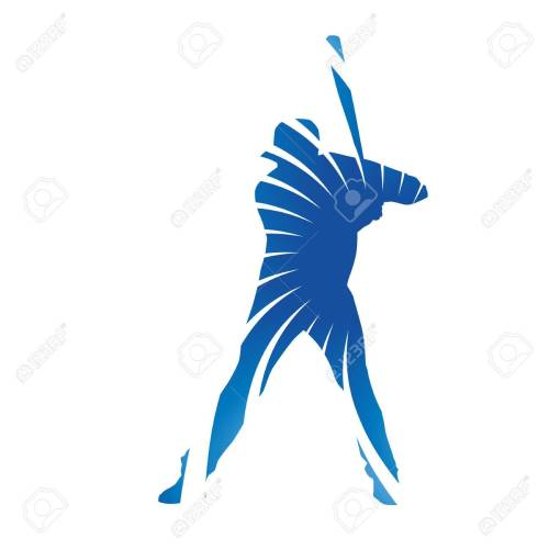small resolution of abstract blue baseball batter figure stock vector 40614062