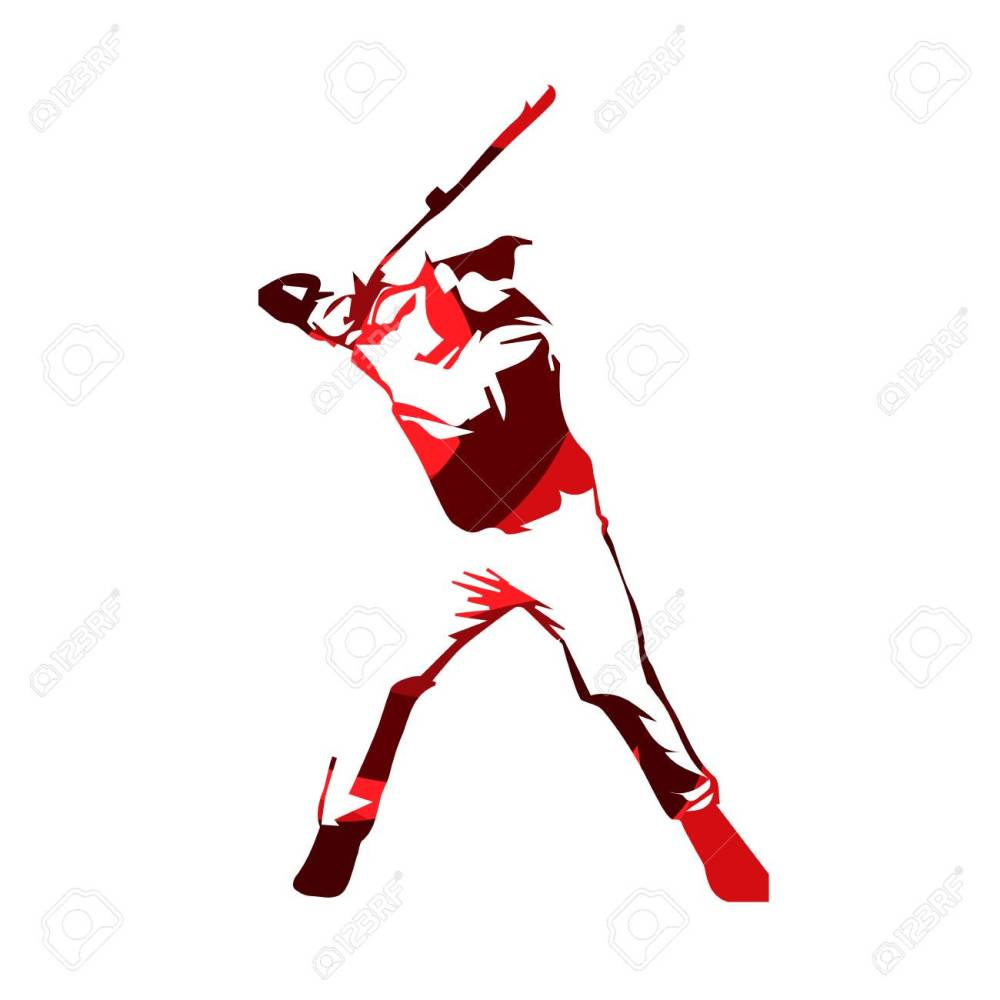 medium resolution of abstract red baseball player vector isolated illustration baseball batter stock vector 68605627
