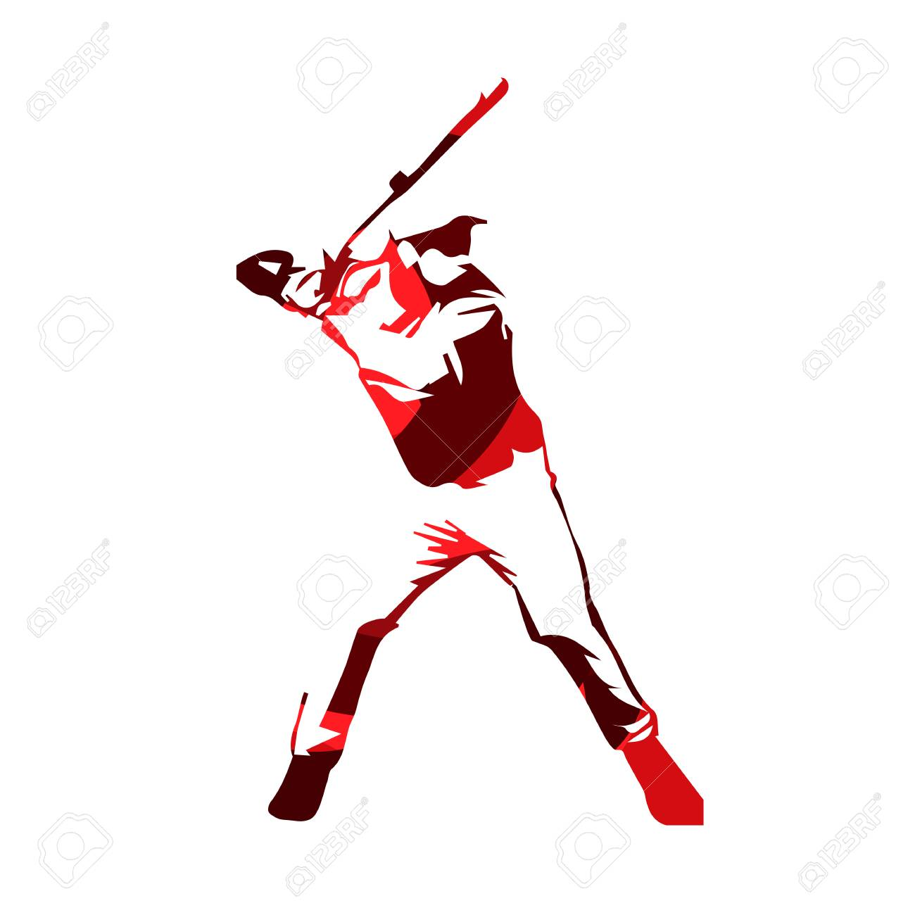 hight resolution of abstract red baseball player vector isolated illustration baseball batter stock vector 68605627