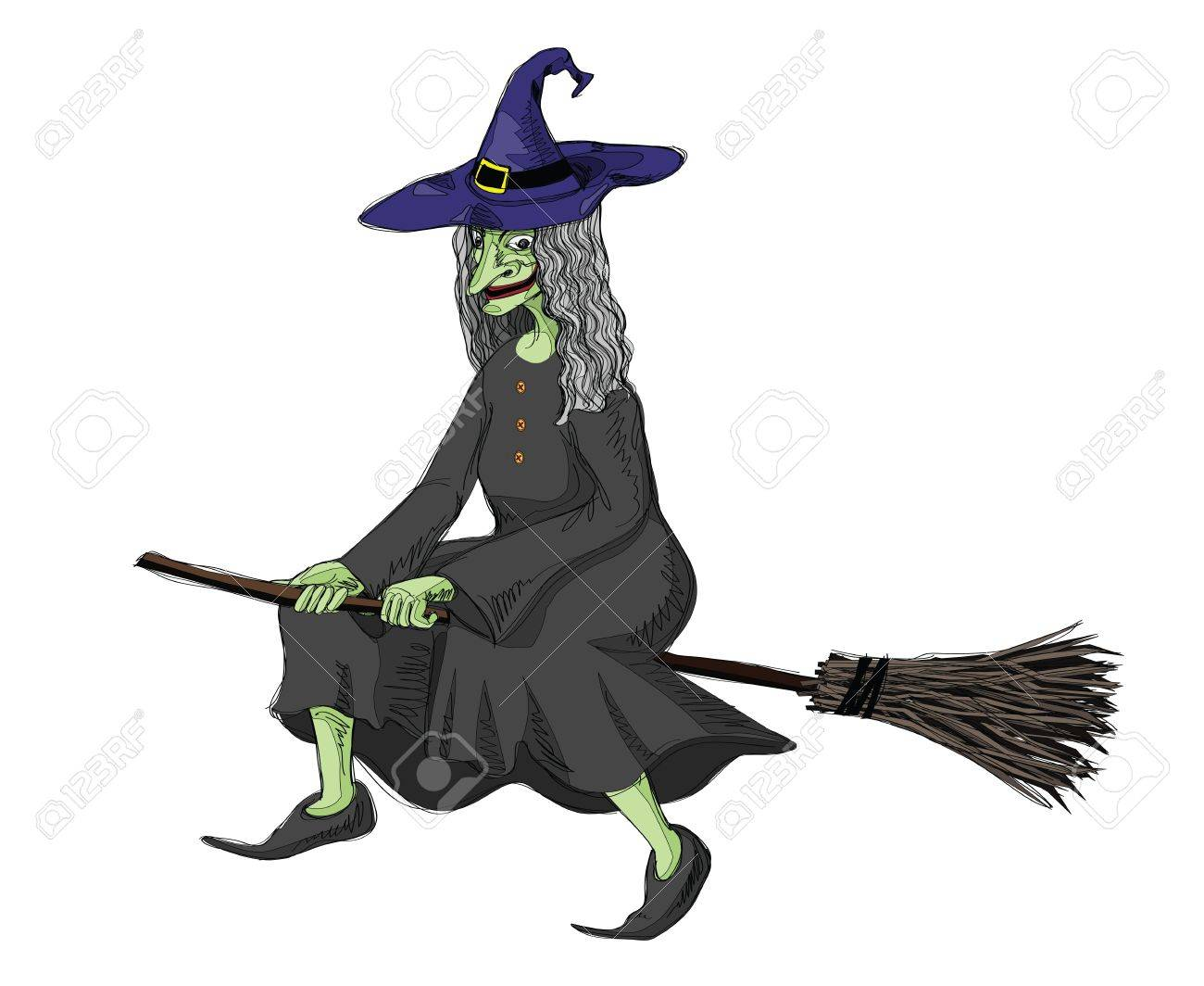 illustration of witch riding
