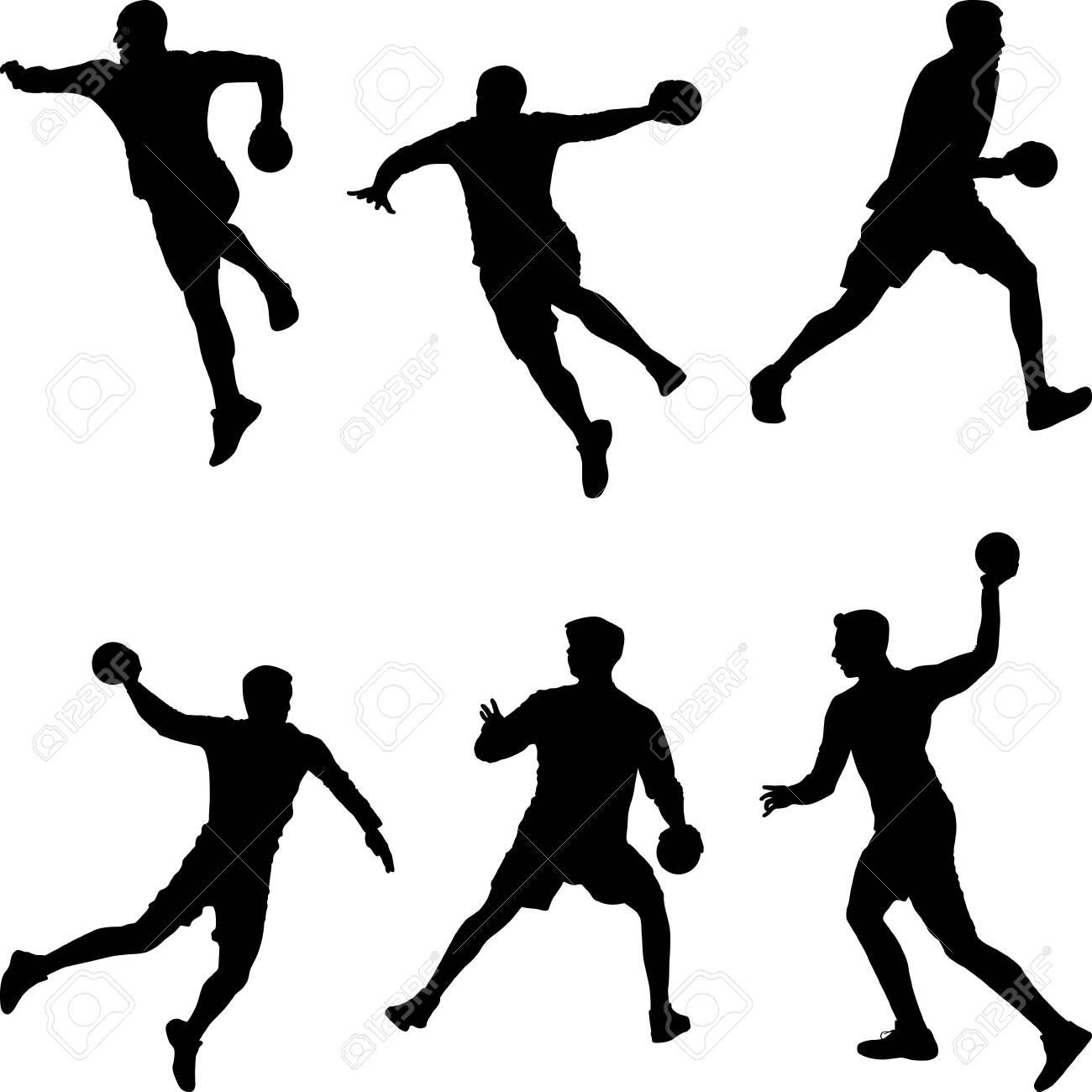 handball player throwing the ball set of silhouettes