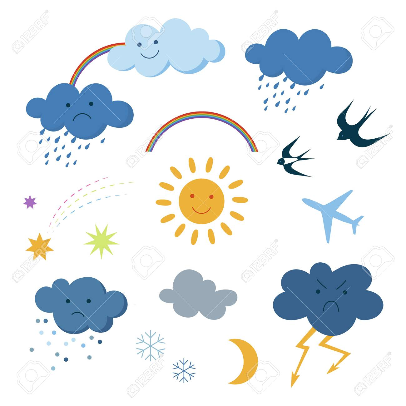 hight resolution of cute beautiful cartoon sky objects weather forecast set clipart collection stock vector 98614010