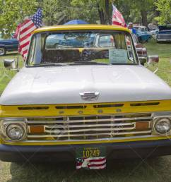 stock photo waupaca wi august 25 front of 1961 ford unibody f100 truck at the 10th annual waupaca rod classic car club car show on august 25  [ 1300 x 1156 Pixel ]
