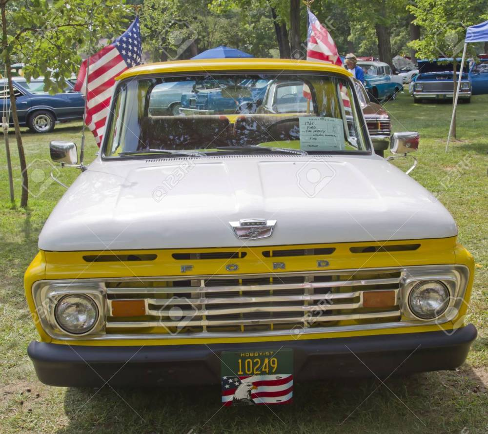 medium resolution of stock photo waupaca wi august 25 front of 1961 ford unibody f100 truck at the 10th annual waupaca rod classic car club car show on august 25