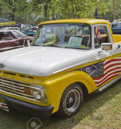 stock photo waupaca wi august 25 1961 ford unibody f100 truck at the 10th annual waupaca rod classic car club car show on august 25 2012 in waupaca  [ 1300 x 866 Pixel ]