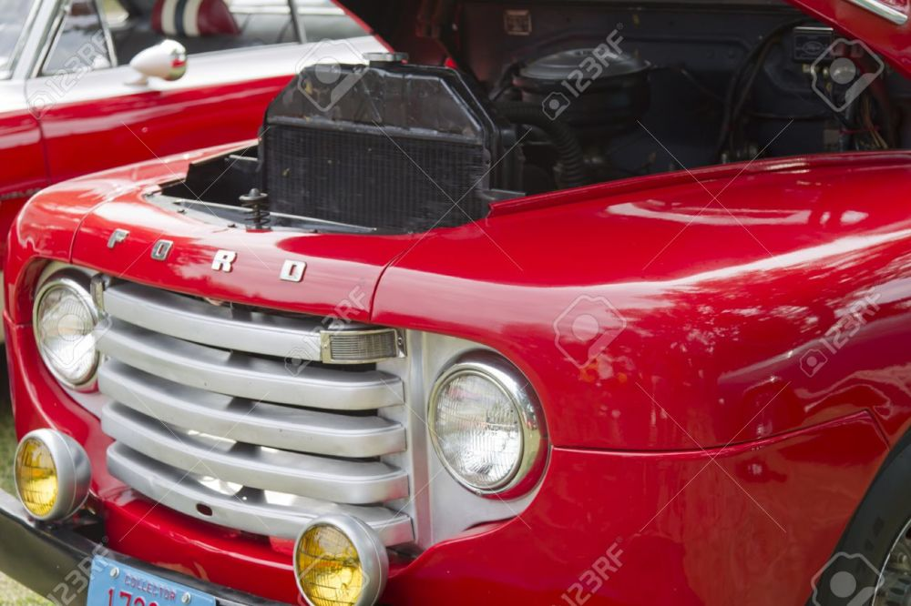 medium resolution of waupaca wi august 25 grill of 1950 ford f1 red pickup truck at the 10th annual waupaca rod classic car club car show on august 25 2012 in waupaca