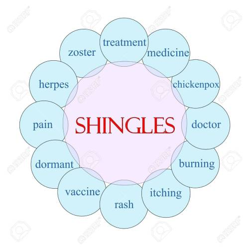 small resolution of shingles concept circular diagram in pink and blue with great terms such as treatment vaccine