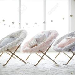 Hang A Round Chair Phil And Teds Lobster Pink Fur Rific Faux Stock Photo Picture