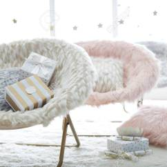 Hang A Round Chair Bar Stool Legs Gray And Pink Leopard Faux Fur Stock Photo