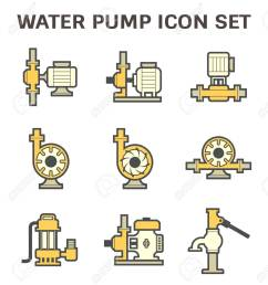 vector vector icon of electric water pump and steel pipe for water distribution isolated on white background  [ 1182 x 1300 Pixel ]