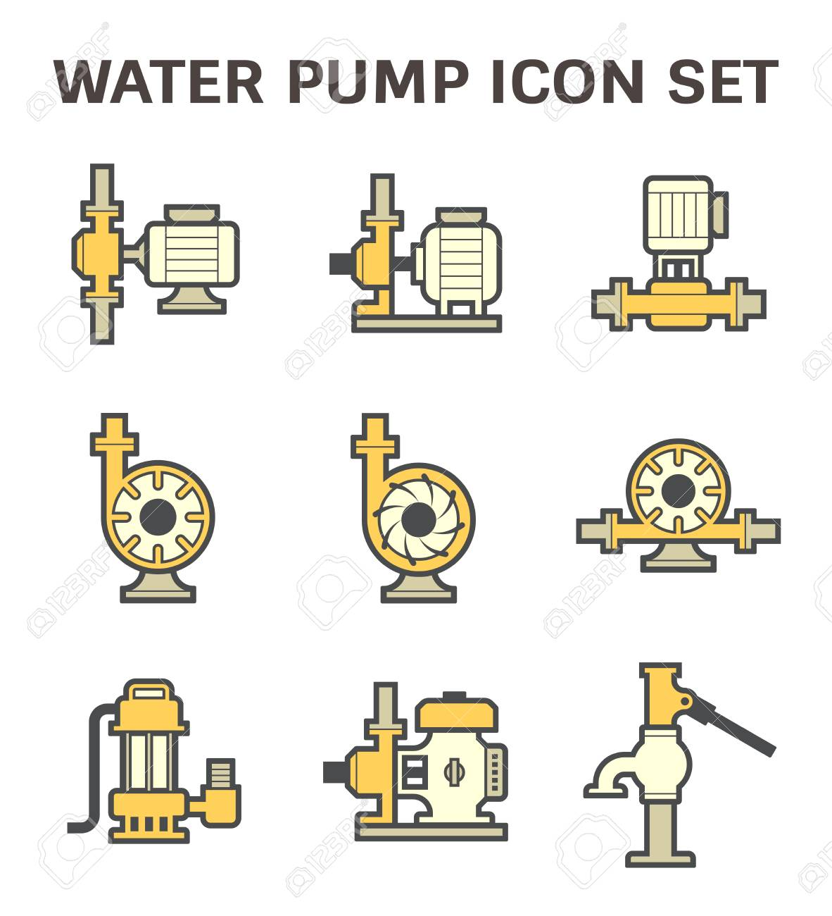 hight resolution of vector vector icon of electric water pump and steel pipe for water distribution isolated on white background