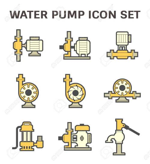 small resolution of vector vector icon of electric water pump and steel pipe for water distribution isolated on white background