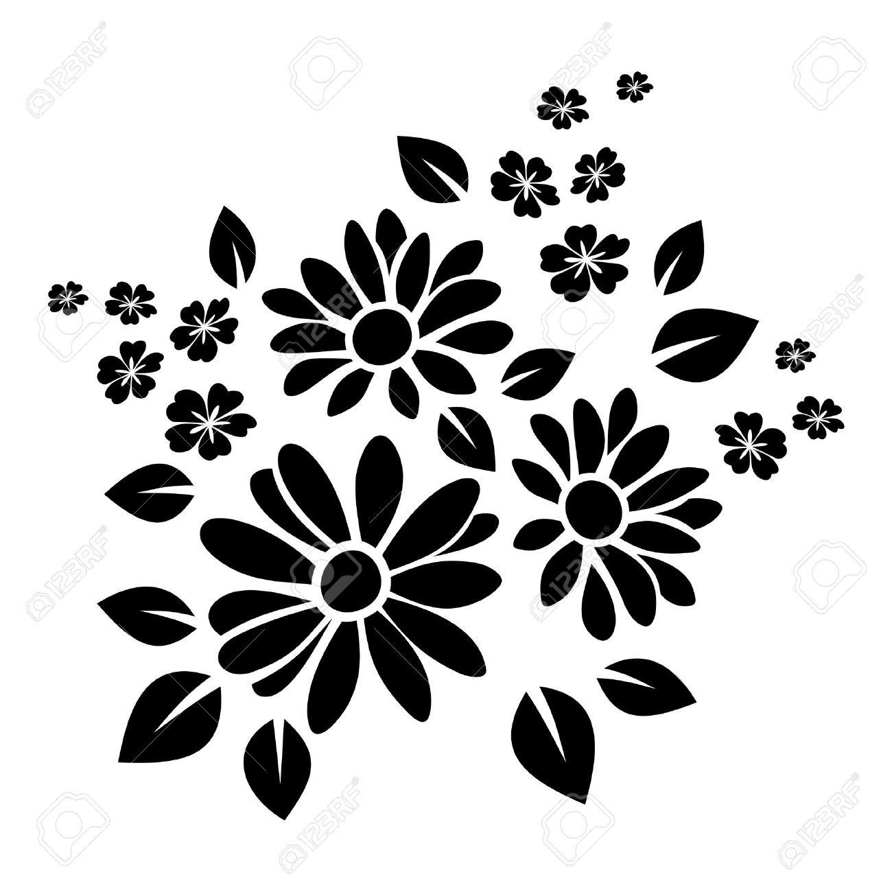 black silhouette of flowers