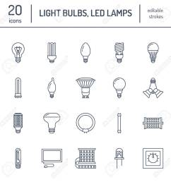 light bulbs flat line icons led lamps types fluorescent filament halogen  [ 1300 x 1300 Pixel ]