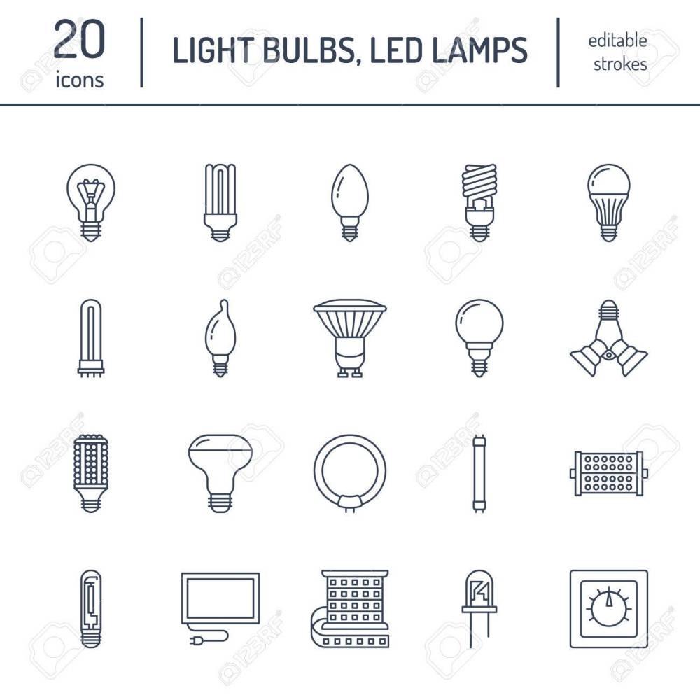 medium resolution of light bulbs flat line icons led lamps types fluorescent filament halogen