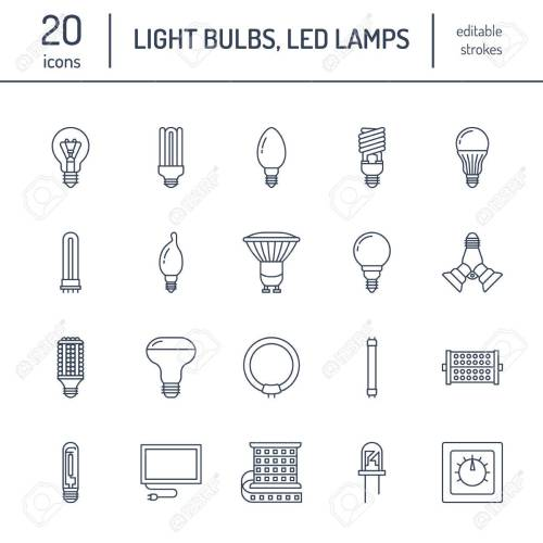 small resolution of light bulbs flat line icons led lamps types fluorescent filament halogen