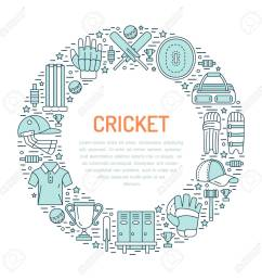 cricket banner with line icons of ball bat field wicket helmet  [ 1300 x 1300 Pixel ]