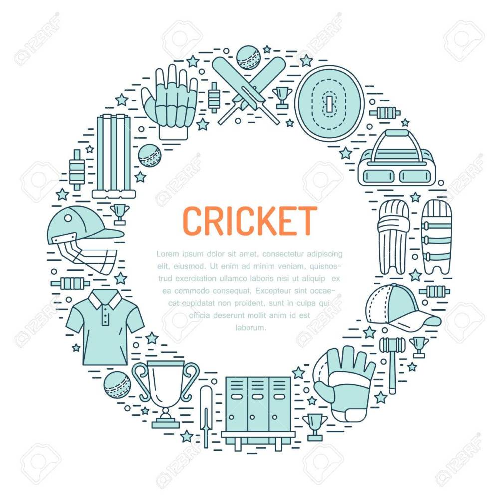 medium resolution of cricket banner with line icons of ball bat field wicket helmet