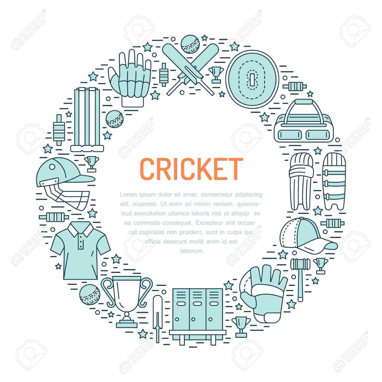 hight resolution of cricket banner with line icons of ball bat field wicket helmet