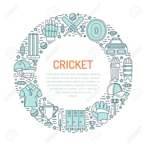small resolution of cricket banner with line icons of ball bat field wicket helmet