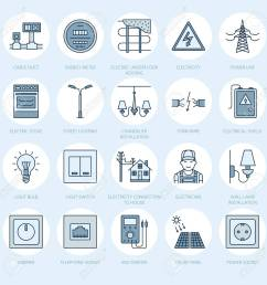 electricity engineering vector flat line icons electrical equipment power socket torn wire  [ 1300 x 1300 Pixel ]