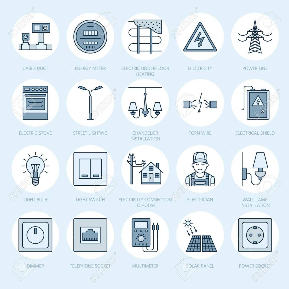 medium resolution of electricity engineering vector flat line icons electrical equipment power socket torn wire