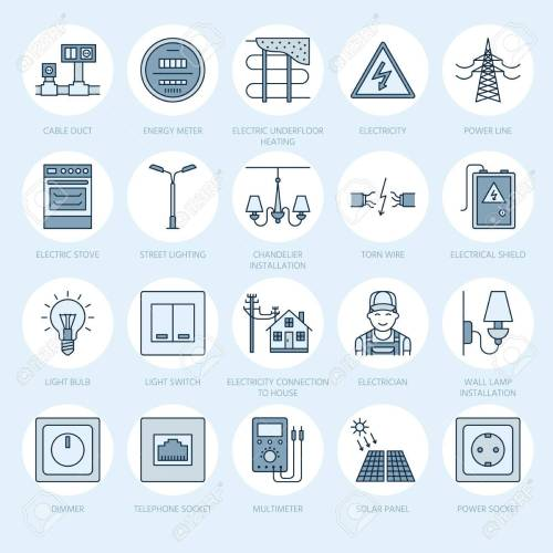 small resolution of electricity engineering vector flat line icons electrical equipment power socket torn wire