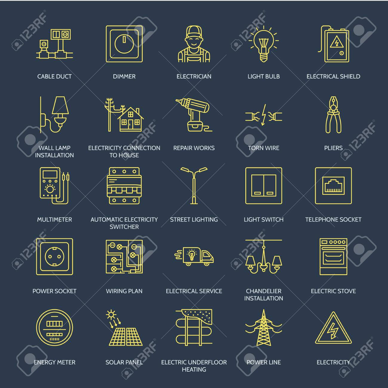 hight resolution of electricity engineering vector flat line icons electrical equipment power socket torn wire