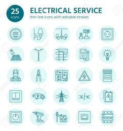 electricity engineering vector flat line icons electrical equipment icons installation of electrical equipment and wiring in the house [ 1300 x 1300 Pixel ]