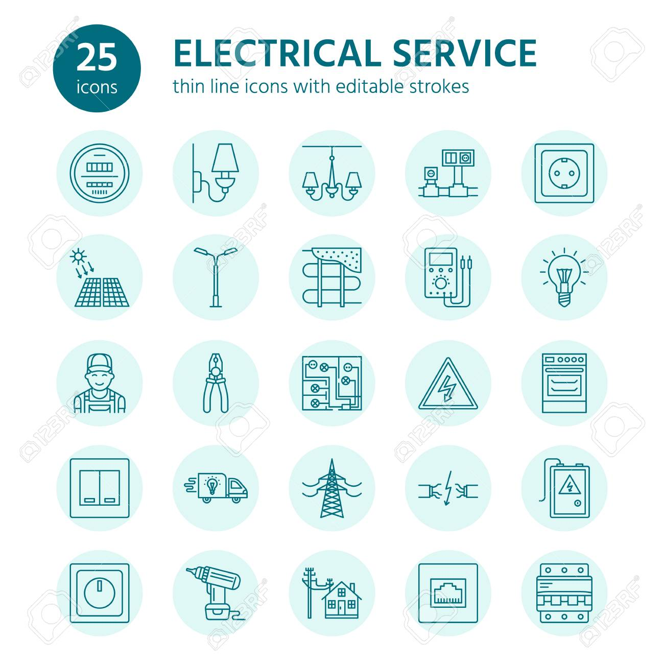 hight resolution of electricity engineering vector flat line icons electrical equipment icons installation of electrical equipment and wiring in the house