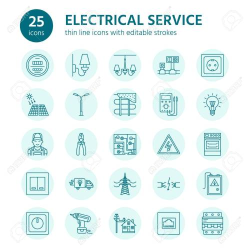 small resolution of electricity engineering vector flat line icons electrical equipment icons installation of electrical equipment and wiring in the house