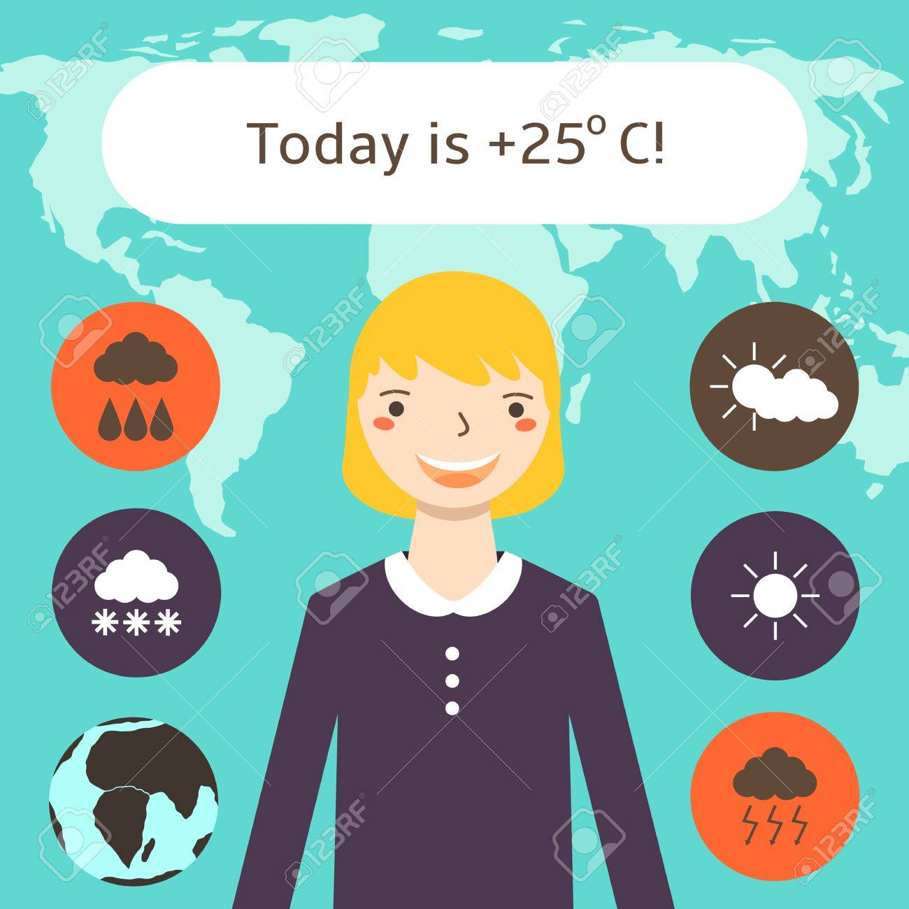 hight resolution of cute flat style weather forecast background with pretty blonde woman world map weather icons