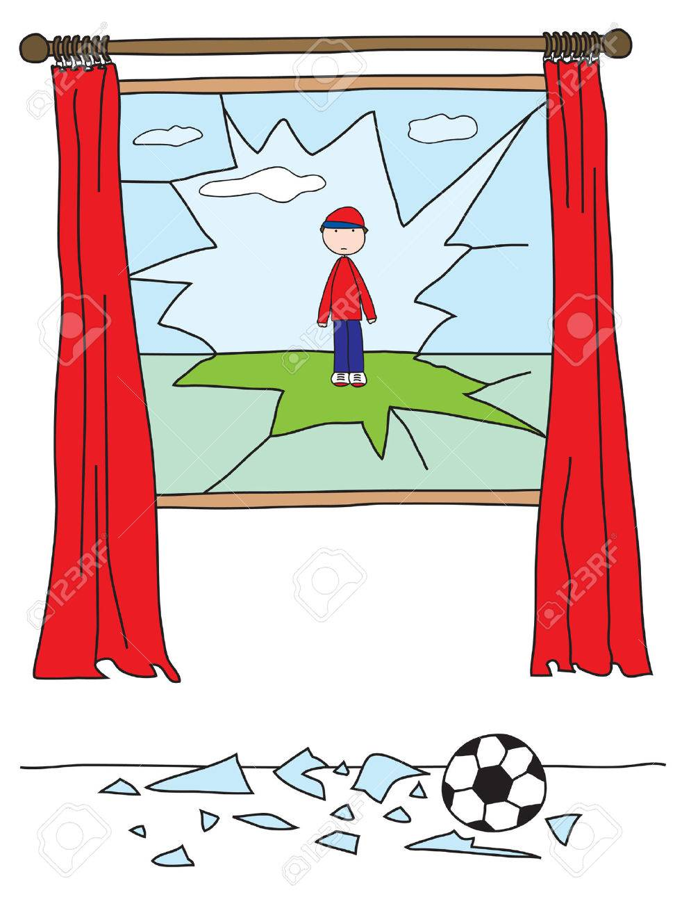 medium resolution of boy playing with a ball and breaking a window stock vector 2456409