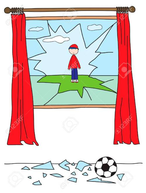 small resolution of boy playing with a ball and breaking a window stock vector 2456409