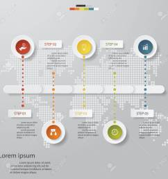 design business chart 5 steps diagram template graphic or website layout stock vector  [ 1300 x 1300 Pixel ]
