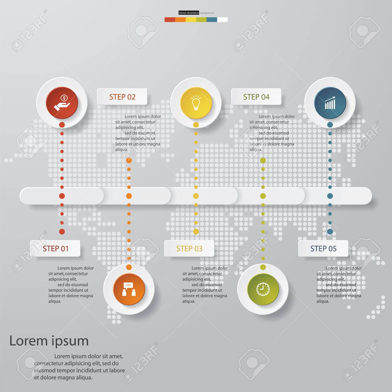 hight resolution of design business chart 5 steps diagram template graphic or website layout stock vector