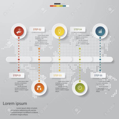 small resolution of design business chart 5 steps diagram template graphic or website layout stock vector