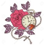 Clock Rose Tattoo Design Flower Vector Design Royalty Free Cliparts Vectors And Stock Illustration Image 48582810