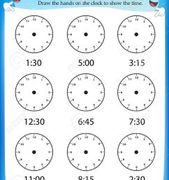 Telling Time Worksheet For Pre School Kids To Identify The Time... Royalty  Free Cliparts [ 1300 x 1006 Pixel ]