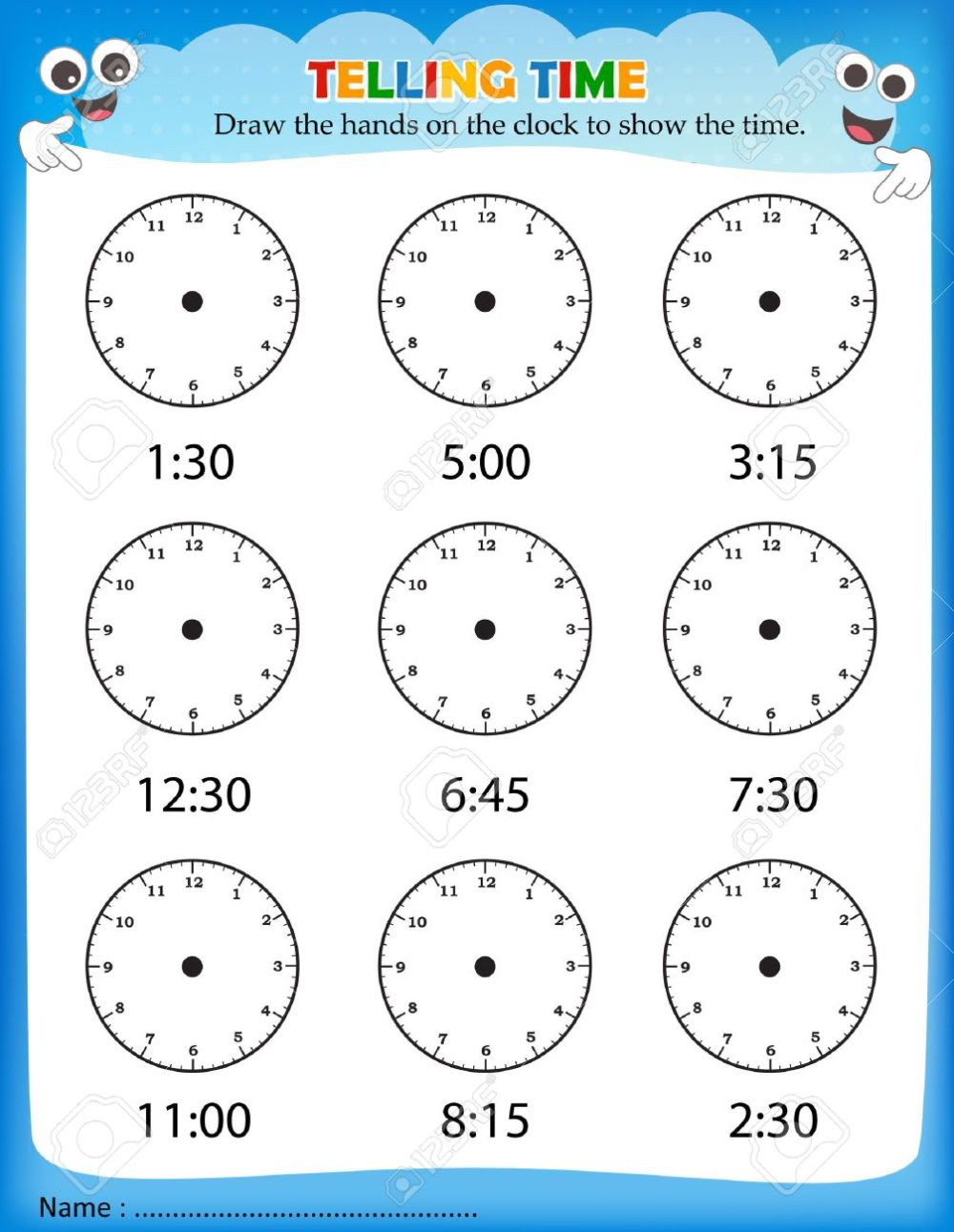 medium resolution of Telling Time Worksheet For Pre School Kids To Identify The Time... Royalty  Free Cliparts