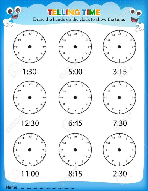 small resolution of Telling Time Worksheet For Pre School Kids To Identify The Time... Royalty  Free Cliparts