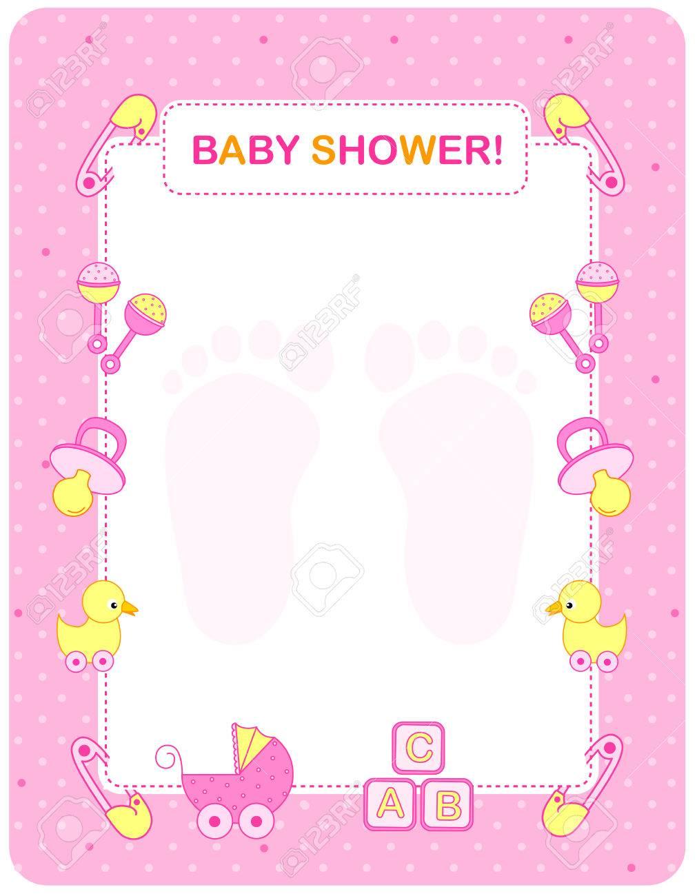 Pink Baby Shower Border : shower, border, Illustration, Shower, Invitation, Border, Frame.., Royalty, Cliparts,, Vectors,, Stock, Illustration., Image, 38541590.