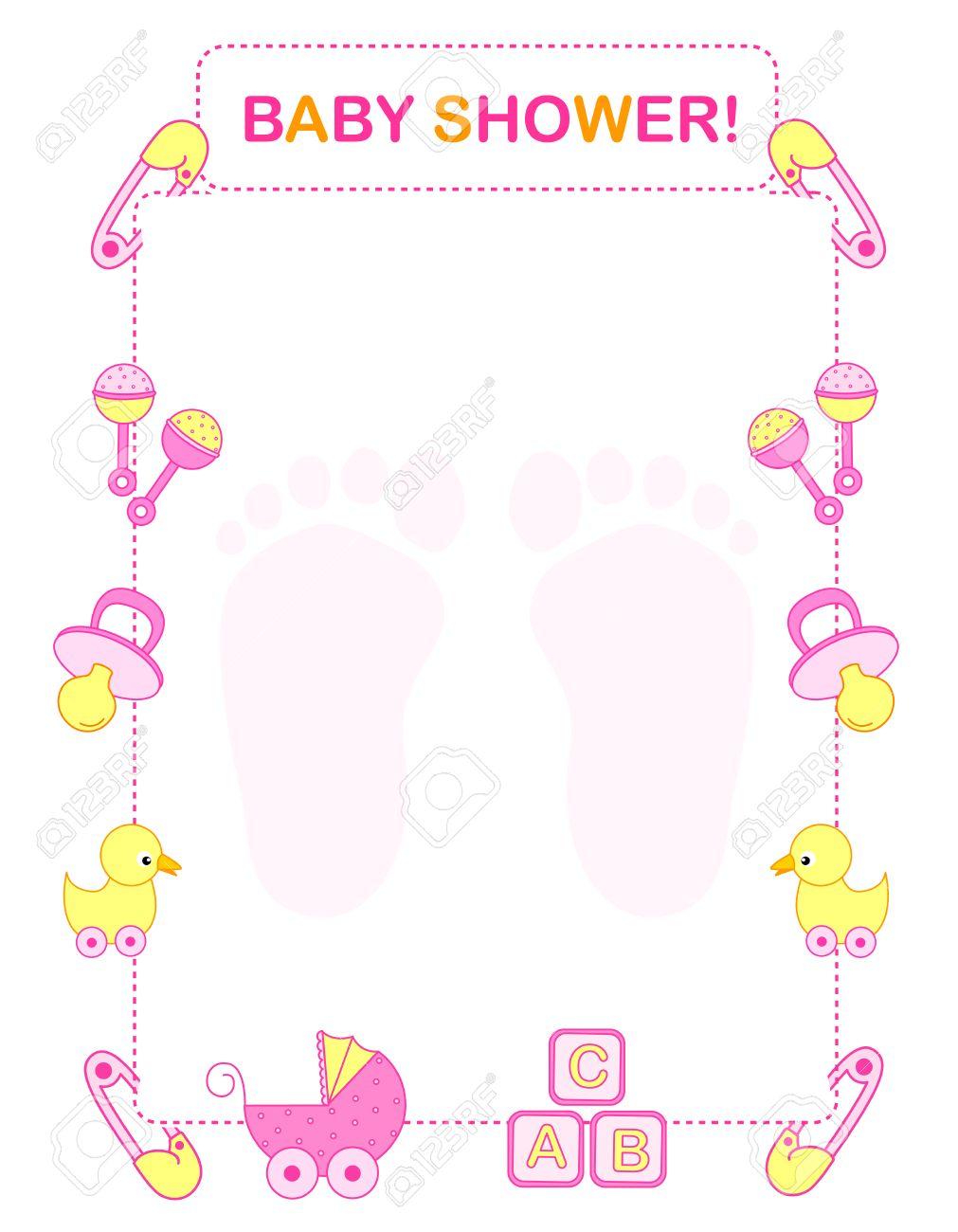 Pink Baby Shower Border : shower, border, Illustration, Shower, Invitation, Border, Frame.., Royalty, Cliparts,, Vectors,, Stock, Illustration., Image, 38545891.