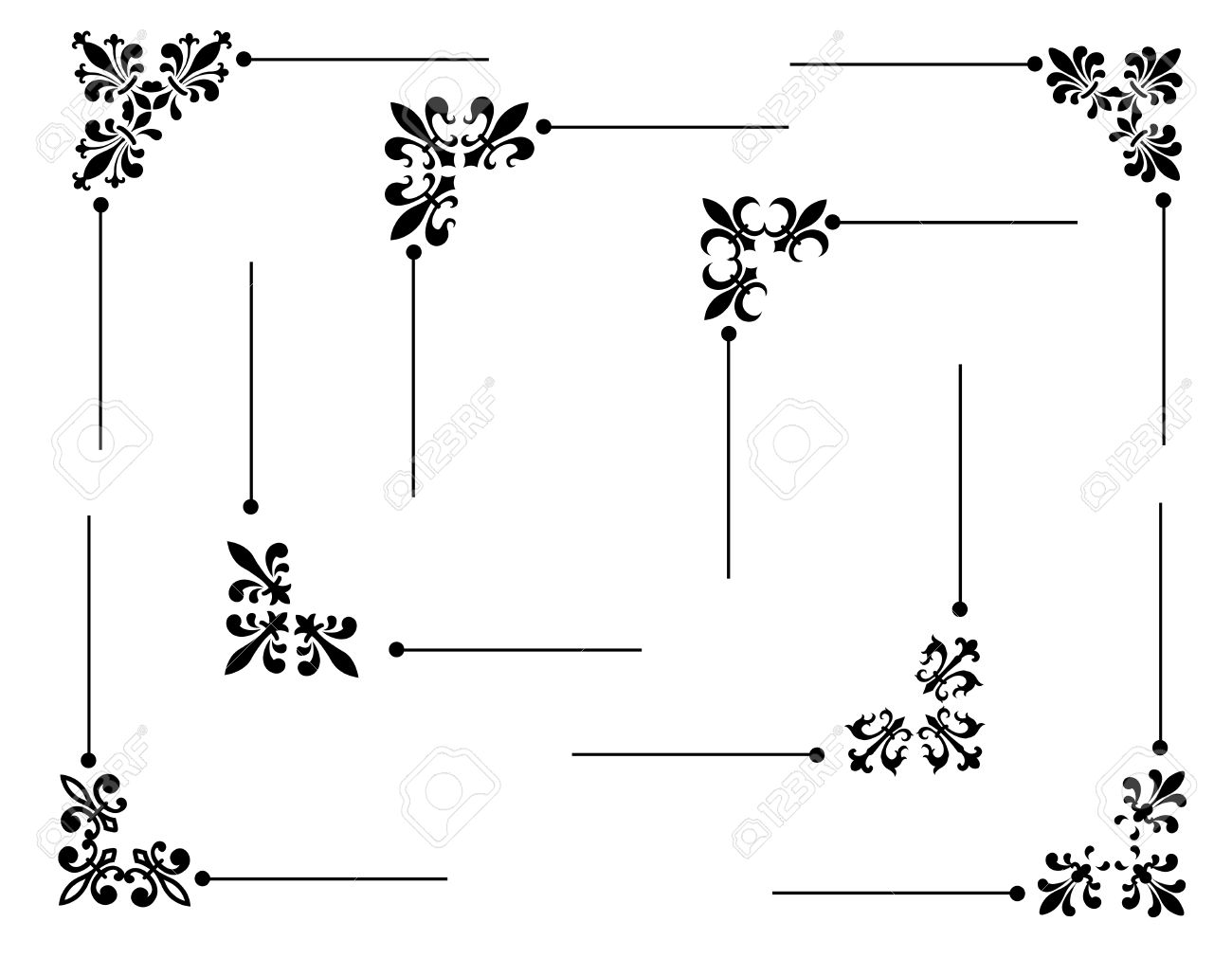 hight resolution of clip art collection of different decorative fleur de lis page corners edges collection stock vector
