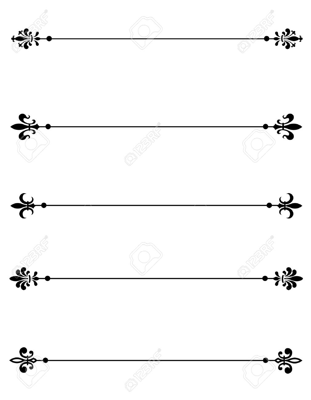 hight resolution of clip art collection of different decorative fleur de lis page dividers border collection stock vector
