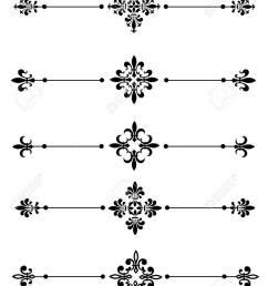 clip art collection of different decorative fleur de lis page dividers border collection stock vector [ 1011 x 1300 Pixel ]