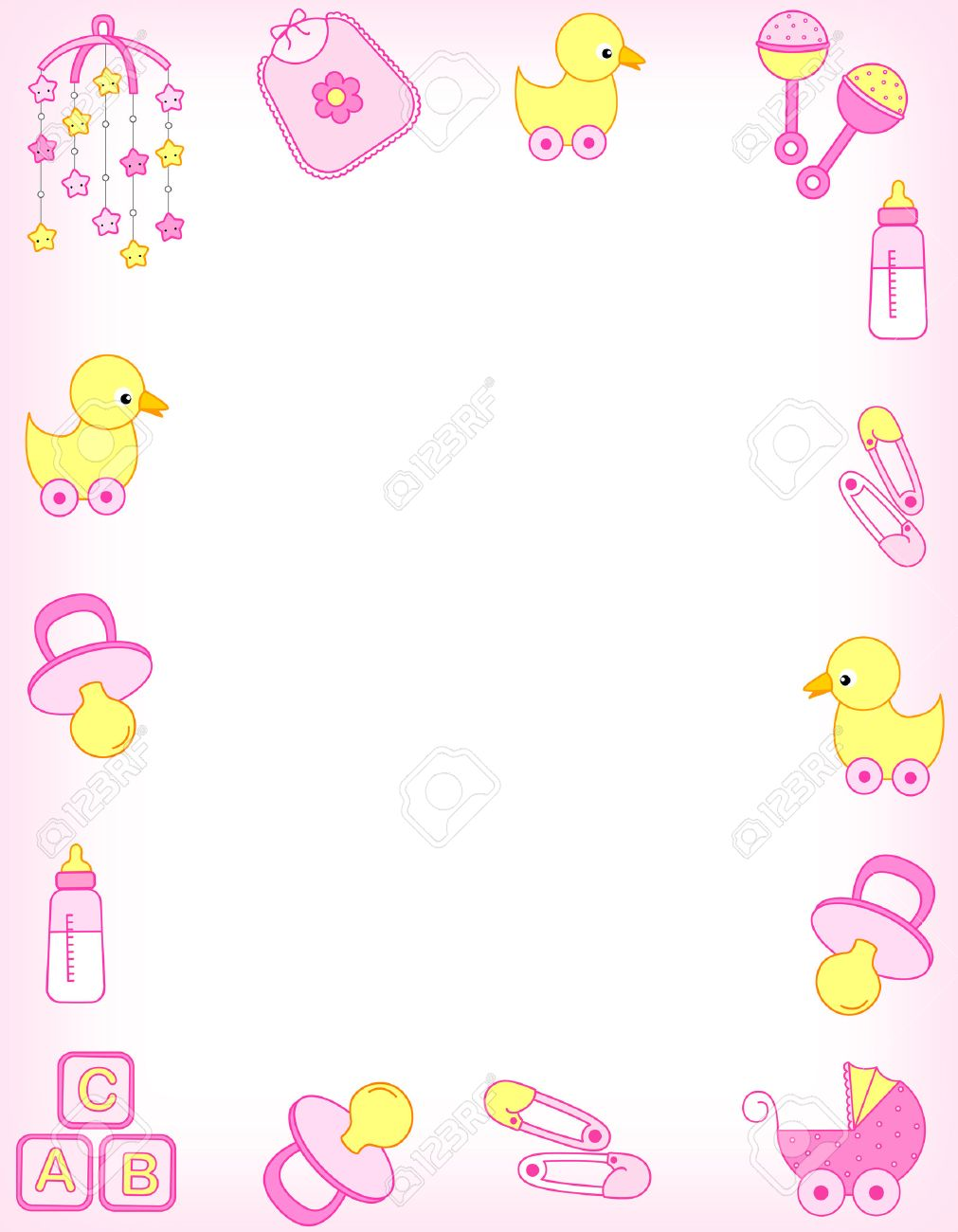Pink Baby Shower Border : shower, border, Illustration, Shower, Invitation, Border, Frame.., Stock, Photo,, Picture, Royalty, Image., Image, 38747902.