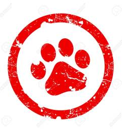 red paw print inside circle frame grunge clipart isolated on white background paw print stamp [ 1299 x 1300 Pixel ]