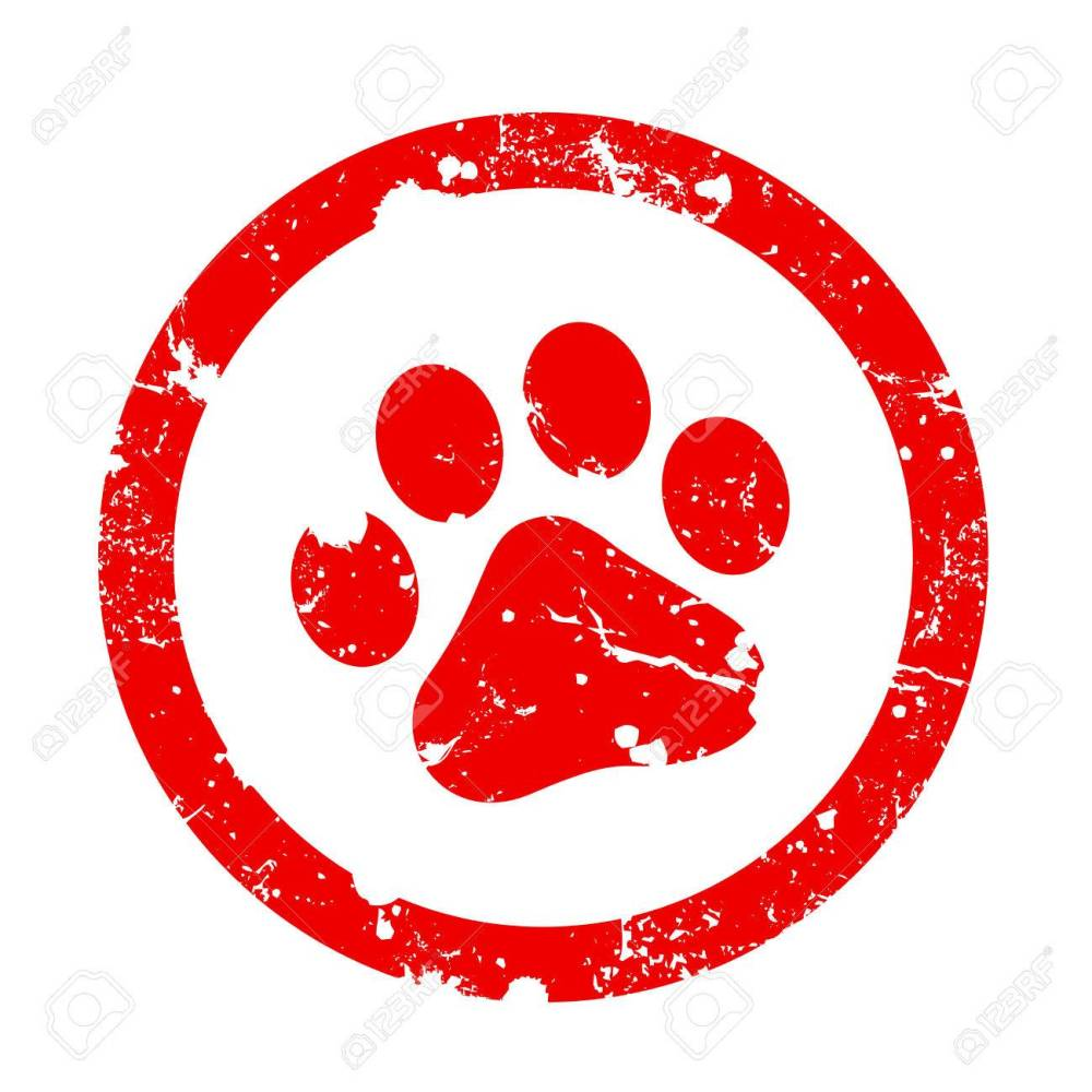 medium resolution of red paw print inside circle frame grunge clipart isolated on white background paw print stamp