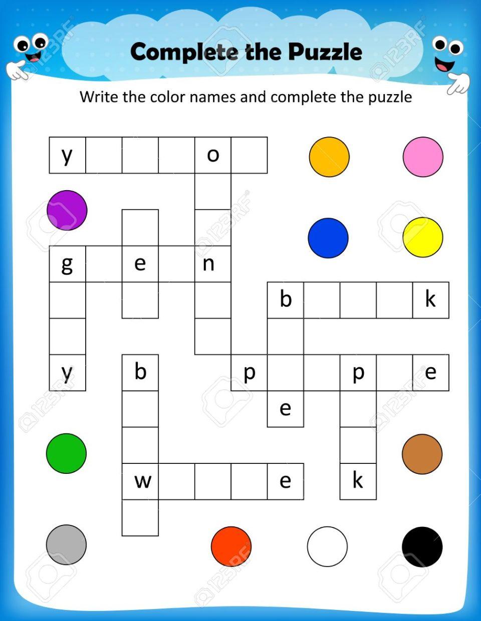 Hoja De Cálculo - Completar La Hoja De Colores Crucigrama Para Los ...